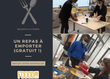 Un repas à emporter (gratuit !) proposé une fois par mois aux résident(e)s de la résidence Occitanie ! Une bonne recette, par les temps qui courent, pour réinventer des moments de convivialités et de partages !